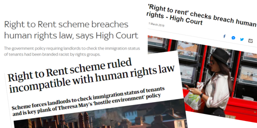 Right to Rent headlines